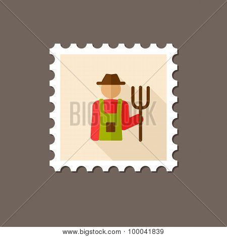 Farmers Flat Stamp With Long Shadow