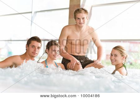 Swimming Pool - Happy People Relax In Hot Tub