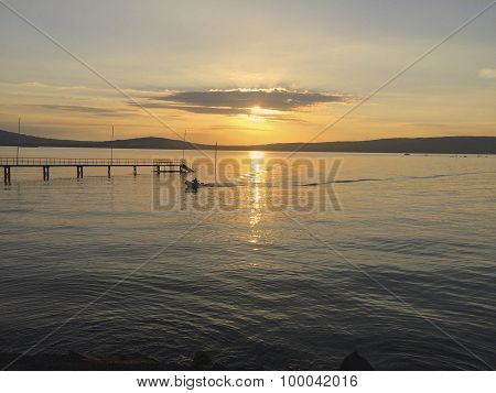 Boat coming in on Belfast Lough