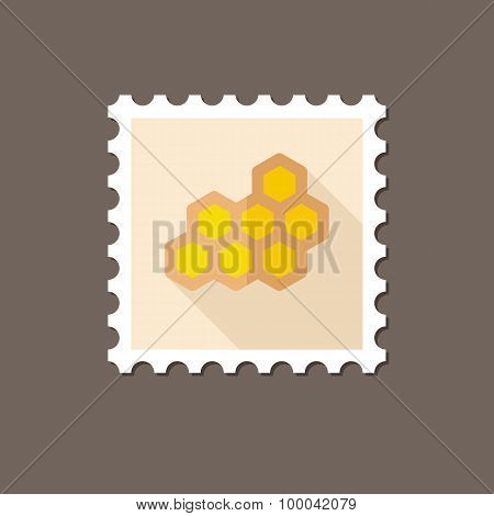 Honeycomb Bee Flat Stamp With Long Shadow