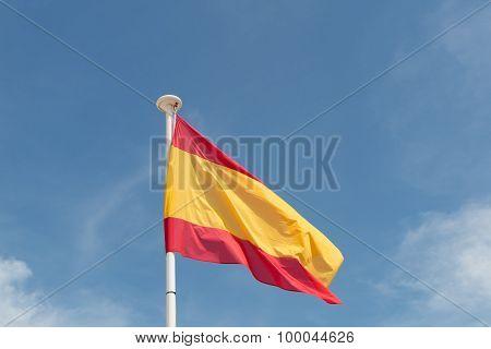 Spanish Flag Under Blue Sky
