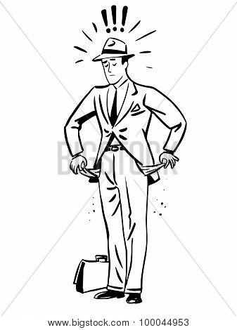 Poverty money businessman with empty pockets line art retro sketch pop art style poster