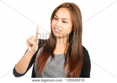 Asian Woman Finger Interacting Touchscreen Away H