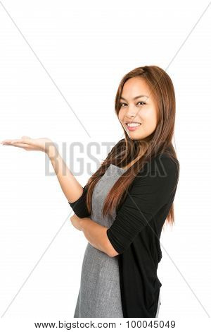 Hand Flat Asian Woman Displaying Looking At Half