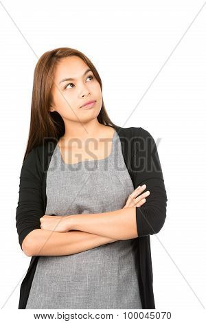 Wondering Asian Woman Looking Up Copy Space Side