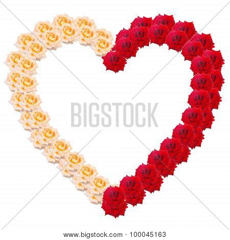 Heart Of Roses In Two Colors Isolated On White Background