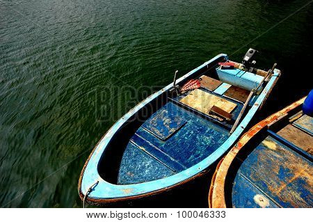 Two rowing boat on sea