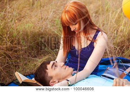 Young Couple Lying On The Plaid In The Park, Close-up