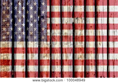 The National flag of USA made of really old wood