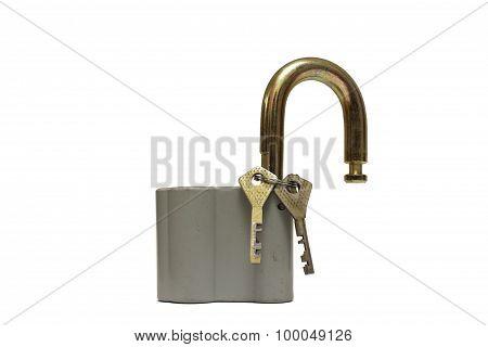Padlock with key isolated on white background