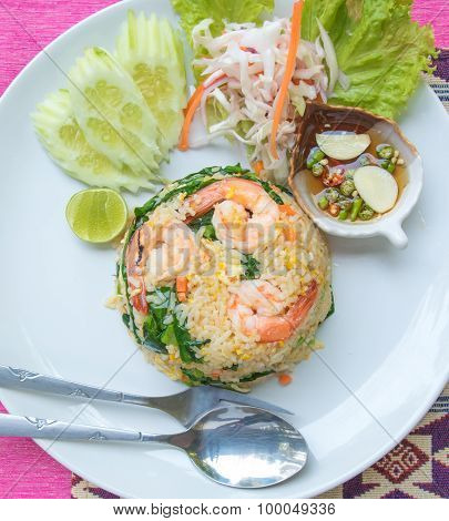 Fried  Rice With Shrimp Set Serve With Fish Sauce Mixed With Red Chili And Lime . (thai Food Name Is