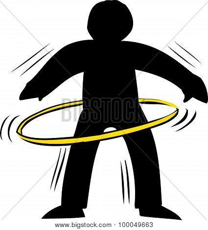 Backlit Person Using Hula Hoop