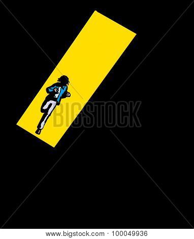 Running Adult In Black Background