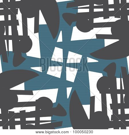Repeating Pattern Of Blue And Gray Shapes