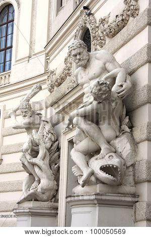 Closer Look At One Of The Hofburg Statue In Vienna, Austria