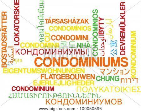 Background concept wordcloud multilanguage international many language illustration of condominiums