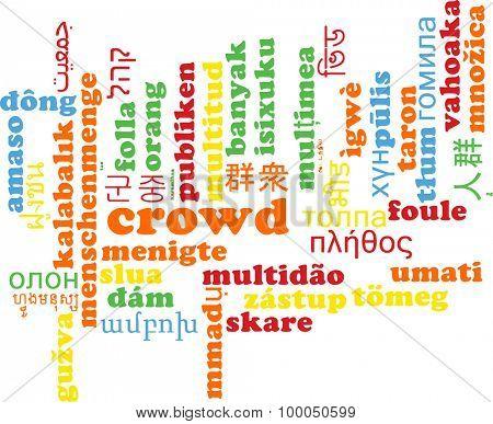 Background concept wordcloud multilanguage international many language illustration of crowd