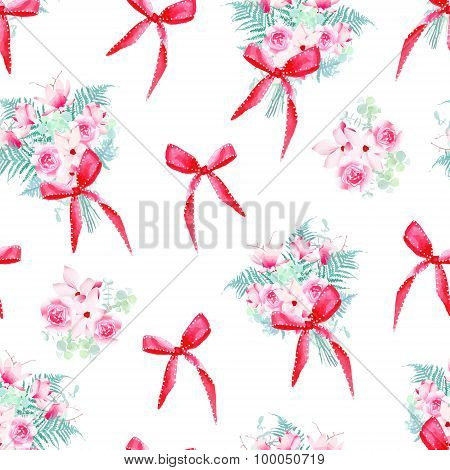 Celebration Floral Bunches With Bows Seamless Vector Pattern