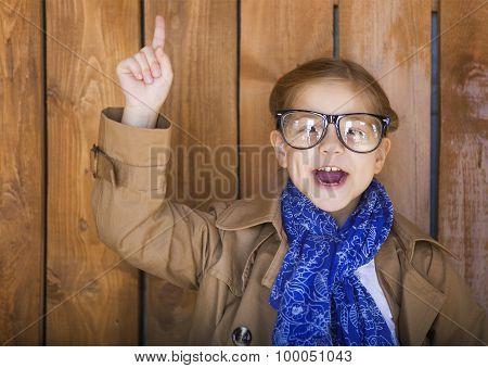Funny Little Girl Wearing Glasses