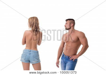 Rejection of sexuality. Concept. Isolated on white