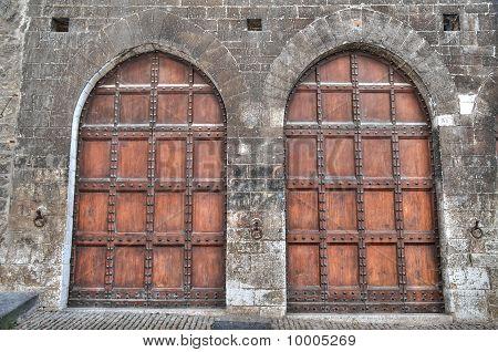 Wooden doors.