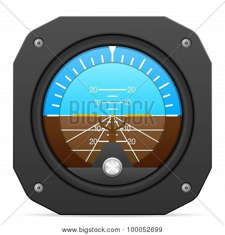 Flight instrument attitude indicator on a white background. poster