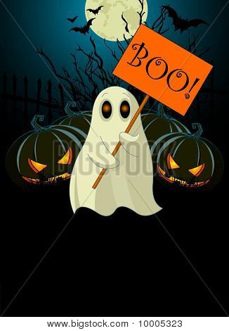 Ghost  With Sign. Halloween  Invitation