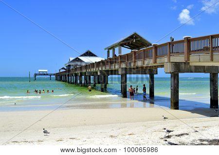Pier 60 Clearwater Beach Florida, USA - May 12, 2015: tourists on the beach bar enjoying the sun