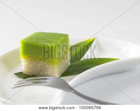 Serimuka Kuih also known as the Pandan Custard Cake