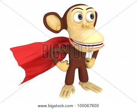 3D Superhero Monkey With Arms Akimbo