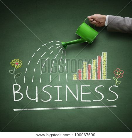 Watering can and word business drawn on a blackboard concept for business growth, investment, savings and making money