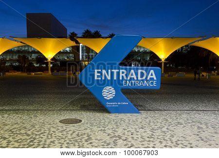 Lisbon, Portugal - October 24 2014: Indication For The Entrance Of Lisbon Aquarium On The Aquarium S