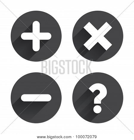 Plus and minus icons. Delete and question FAQ mark signs. Enlarge zoom symbol. Circles buttons with long flat shadow. Vector poster
