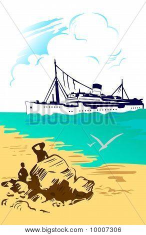 Tropical Sea Landscape, Ship
