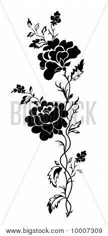 Vertical Floral Pattern Rose, Tattoo