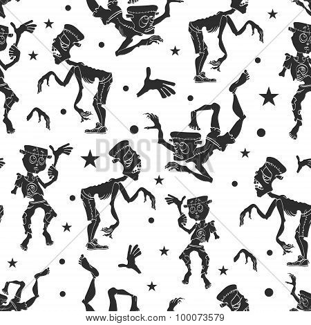 Vector Black and White Dancing Zombies Seamless Pattern. Waving Zombie. Frankenstein costume