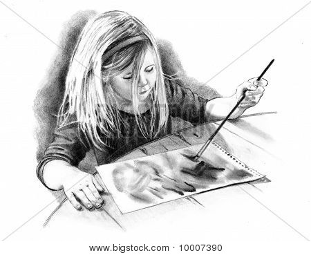 Freehand Pencil Drawing of Child Painting