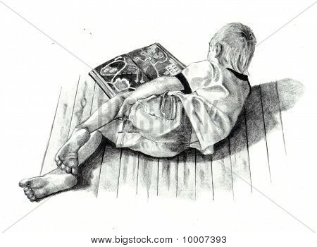 Freehand Pencil Drawing of Boy Reading Book