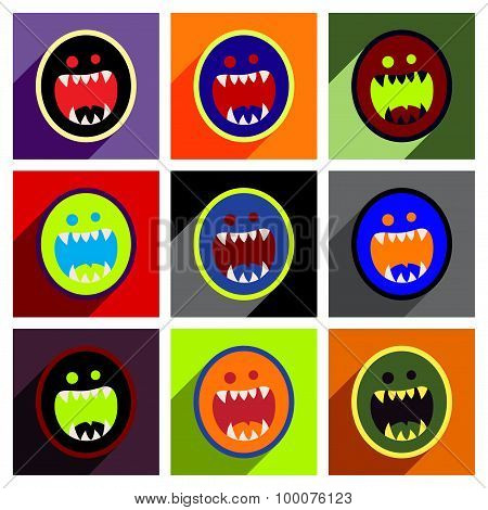 Flat with shadow concept Icon toothy monster bright background