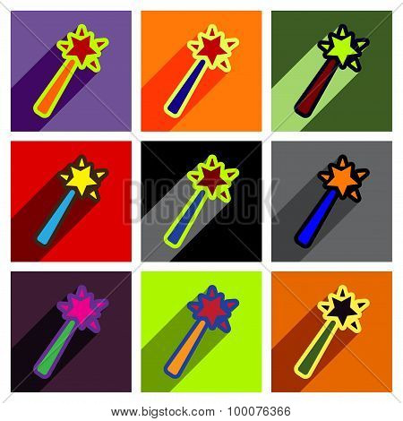 Flat with shadow concept magic wand on a colored background