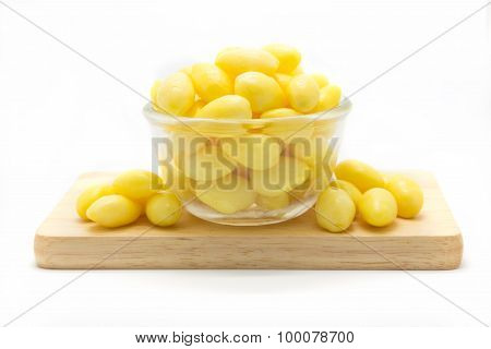 Boiled ginkgo on glass bowl