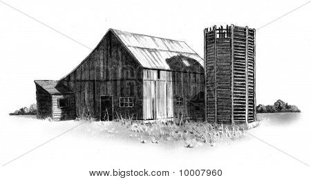 Freehand Pencil Drawing of Old Barn and Silo