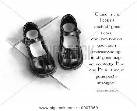 Pencil Drawing of Shoes with Bible Verse