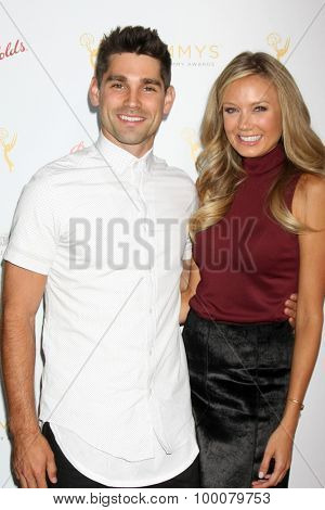 LOS ANGELES - AUG 26:  Justin Gaston, Melissa Ordway at the Television Academy's Daytime Programming Peer Group Reception at the Montage Hotel on August 26, 2015 in Beverly Hills, CA
