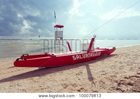 Rimini, Italy, 18 August 2015: Classic boat rescue rowing Adriatic coast Italy