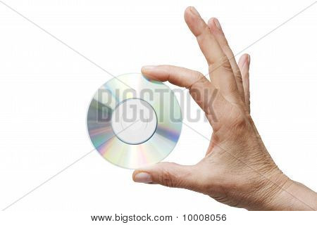 hand holding one dvd isolated on white background