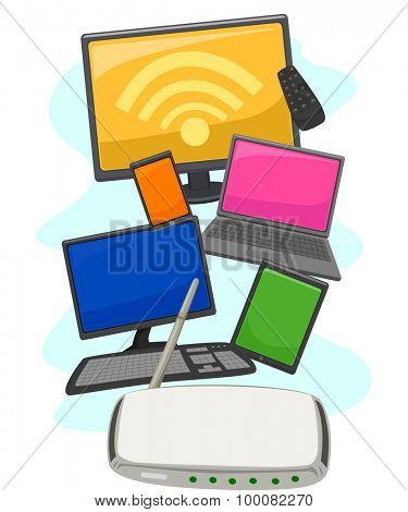 Illustration of Electronic Gadgets and Devices Compatible with the Wifi Router