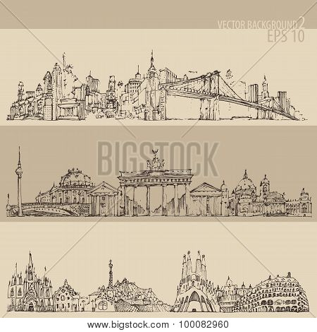 city set New york, Berlin, Barcelona vintage engraved illustration, hand drawn