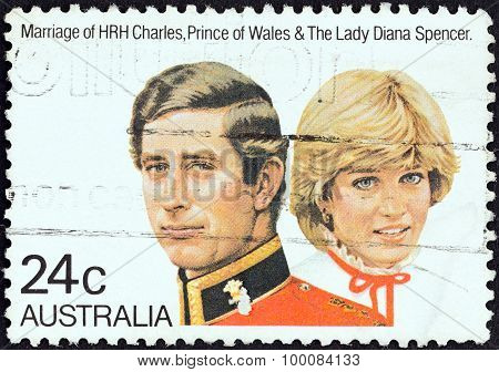 AUSTRALIA - CIRCA 1981: A stamp printed in Australia shows Prince Charles and Lady Diana Spencer