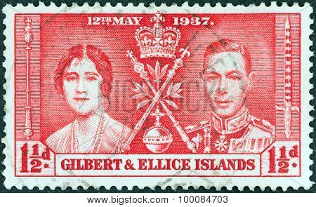 GILBERT AND ELLICE ISLANDS - CIRCA 1937: Stamp shows King George VI and Queen Elizabeth